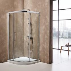 ΚΑΜΠΙΝΑ ΝΤΟΥΣΙΕΡΑΣ ΗΜΙΚΥΚΛΙΚΗ 80X80,90X90 B.T. PRIMUS PLUS με 2 σταθερά & 1 συρόμενο φύλλο  σε κρυσταλλο διαφανο CLEAN GLASS