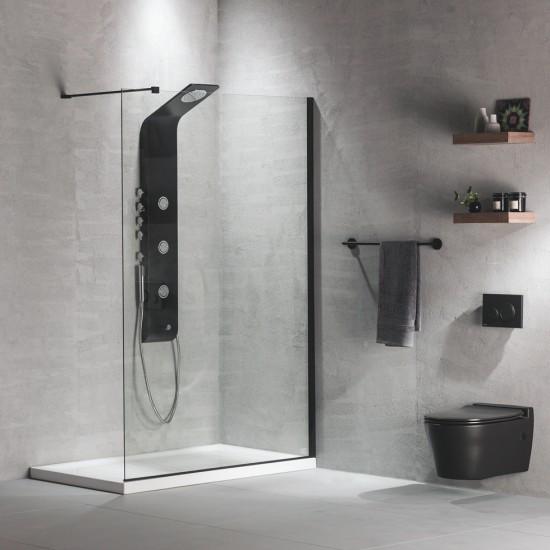 ΔΙΑΧΩΡΙΣΤΙΚΟ  70/80/90/100/110/120/130/140 Χ 200 Χ 8mm IWIS WALK-IN clean glass μαυρο & λευκο προφιλ