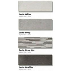 ΠΛΑΚΑΚΙ 25x80 ΜΠΑΝΙΟΥ CORFU WHITE/GREY/GRAFITO/DECOR