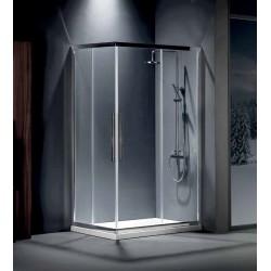 ΚΑΜΠΙΝΑ ΝΤΟΥΣΙΕΡΑΣ ΓΩΝΙΑΚΗΣ ΕΙΣΟΔΟΥ ΤΕΤΡΑΓΩΝΗ 80x80,90x90 με 2 σταθερά & 2 συρόμενα φύλλα FLOW CLEAN GLASS CHROME