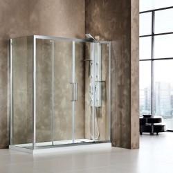 ΚΑΜΠΙΝΑ ΝΤΟΥΣΙΕΡΑΣ 150-160-17-180 -190-200 με 2 σταθερά & 2 συρόμενα φύλλα PRIMUS PLUS SLIDER  SL2T  CLEAN GLASS